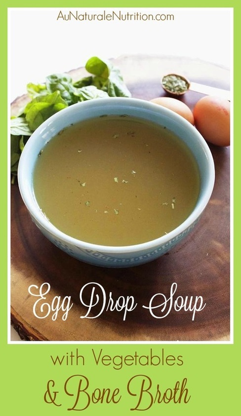 Egg drop soup made with bone broth.  Delicious nourishment for your tummy, joints, and skin!