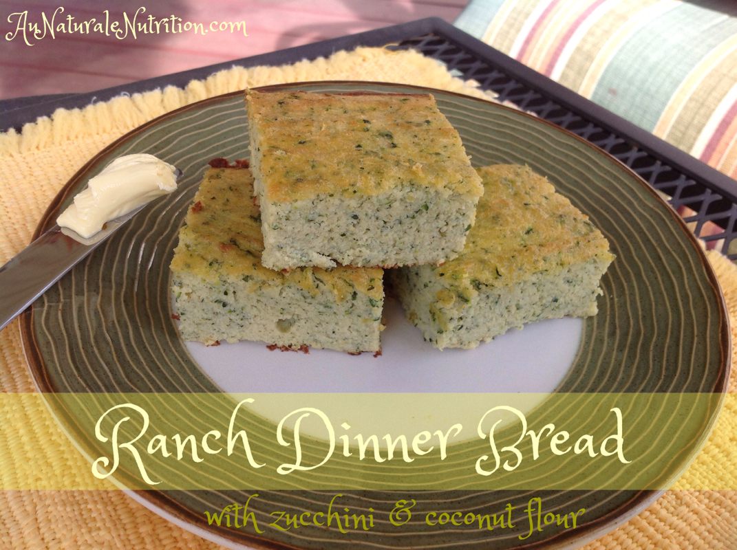 Savory Ranch Dinner Bread with Zucchini.  (Paleo, gluten free)  By www.AuNaturaleNutrition.com