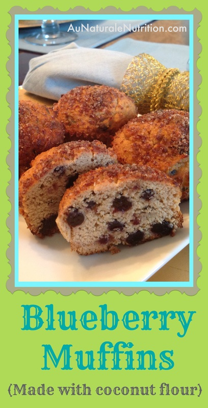 Blueberry Muffins made with coconut flour & optional pecan topping. Grain & dairy free! Paleo. By www.aunaturalenutrition.com