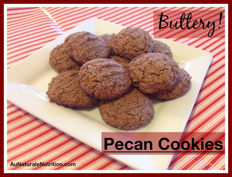 Pecan Cookies.  Whole-food ingredients! These gluten free, grain free cookies are rich and delicious and taste like