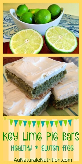 Key Lime Pie Bars - Au Naturale! (gluten free & paleo) These delicious, easy bars are a healthy take on this yummy dessert, but with much less sugar and refined ingredients.  Ooh, la, la!  By www.AuNaturaleNutrition.com