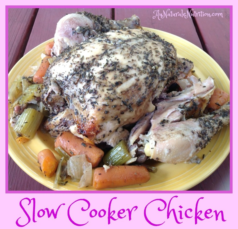 Bake a Whole Chicken in a Slow Cooker! A lovely whole-food dinner with less work, but without sacrificing taste or nutrition. So pretty, it looks like a weekend meal - but you'll have time to make on any weekday!