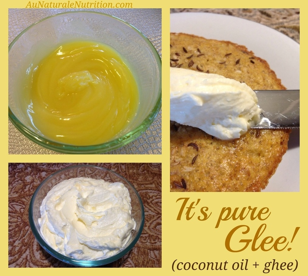 Happiness Starts with Glee! (Make you own Coconut Ghee) Glee a perfect description for the mixture of two wonderful, healthy fats (coconut oil + ghee). They are a delicious combo and a lovely, dense source of nutrients!