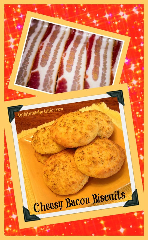 Cheesy Bacon Biscuits!  (Low-carb, gluten free, paleo/primal).  PLus, cooking healthy with bacon fat, YUM!
