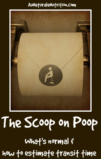 The Scoop on Poop: What you see in the toilet is a good indicator of the health of your entire digestive process.  What's normal? How does YOUR poop stack up?  Learn how to test your transit time and improve it.  By www.AuNaturaleNutrition.com