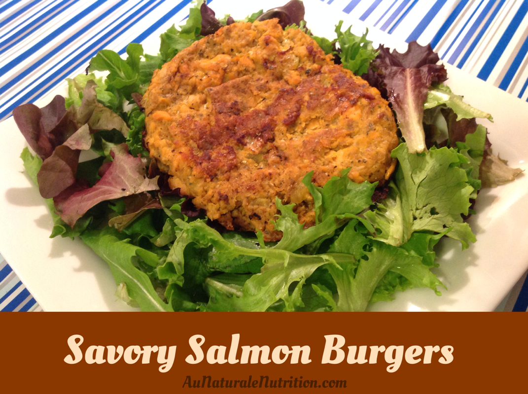 Savory salmon burgers!  (Paleo)  Uses wild-caught salmon and homemade ranch seasoning, Yum!  By Jenny at www.aunaturalenutrition.com
