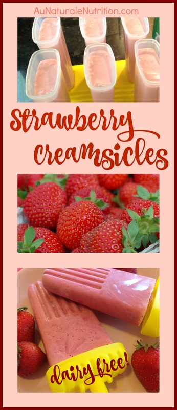 Strawberry Creamsicles!  A heavenly delight on a hot summer day.  No added sugars or flavors, just natural goodness!  Paleo, dairy-free.