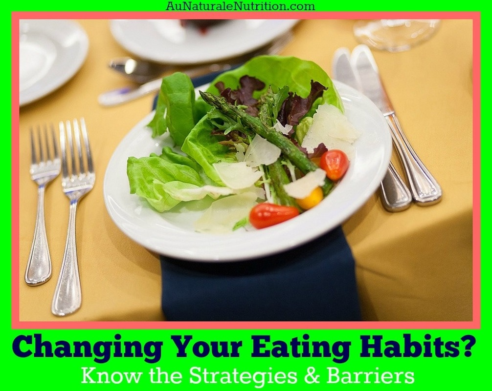 Are you changing your eating behaviors to improve health?  Make the change permanent by understanding the strategies and barriers.  By Jenny at www.AuNaturaleNutrition.com