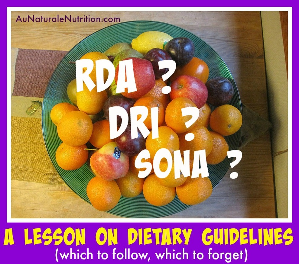 Do You Eat According to the RDA Guidelines? I Sure Hope NOT!  You can do better!  (an article by www.aunaturalenutrition.com)