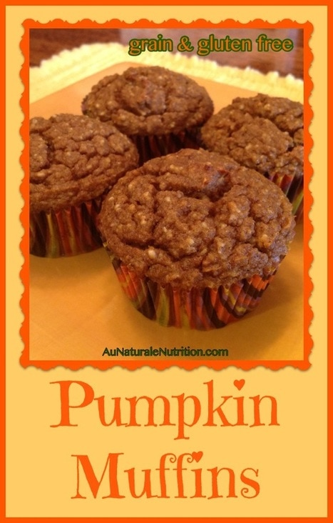 Pumpkin Muffins! (with optional chocolate chips)  Whole-food ingredients, grain free, gluten free, low-carb.  And SUPER delicious!!