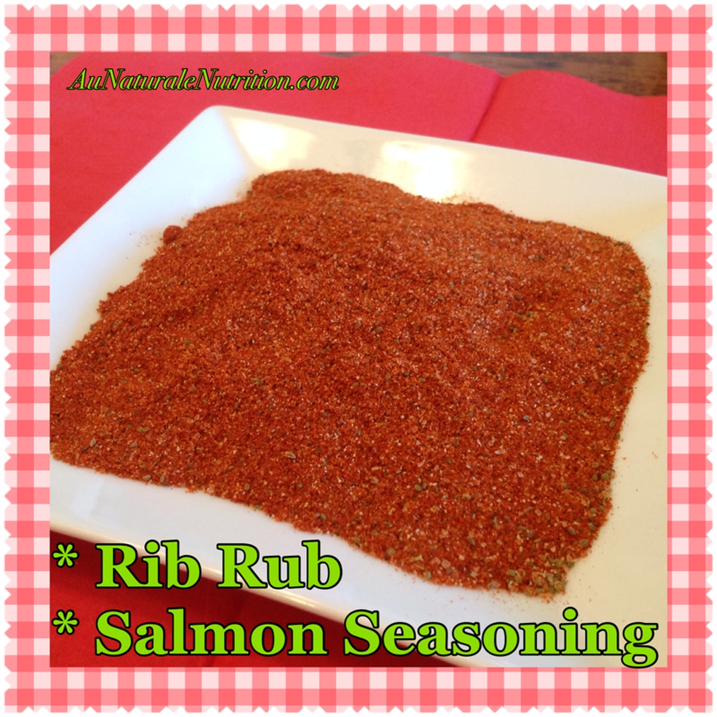 Homemade rib rub & salmon seasoning.  Great on pork chops and baked potatoes, too!  By Jenny at www.aunaturalenutrition.com