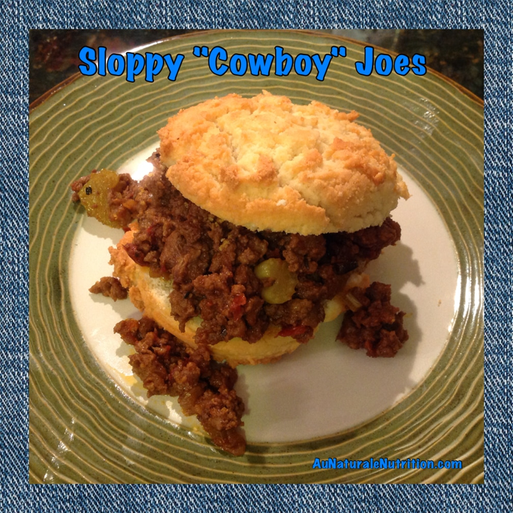 Sloppy Cowboy Joes!  (A BBQ version , kid friendly, and great for parties.) Yee Haw! (Shown with a paleo/gluten-free biscuit.)  by www.aunaturalenutrition.com