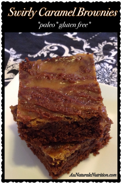 Swirly Caramel Brownies with Nutbutter.  Ooey, gooey goodness!! (Paleo & gluten free)