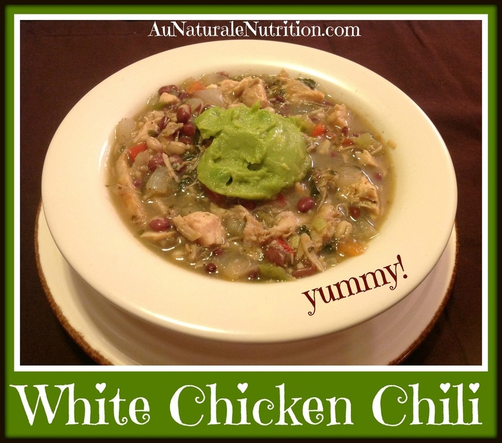Cluck, Cluck!  Why it's important to buy organic chicken and a delicious recipe for White Chicken Chili.  By Jenny at www.AuNaturaleNutrition.com